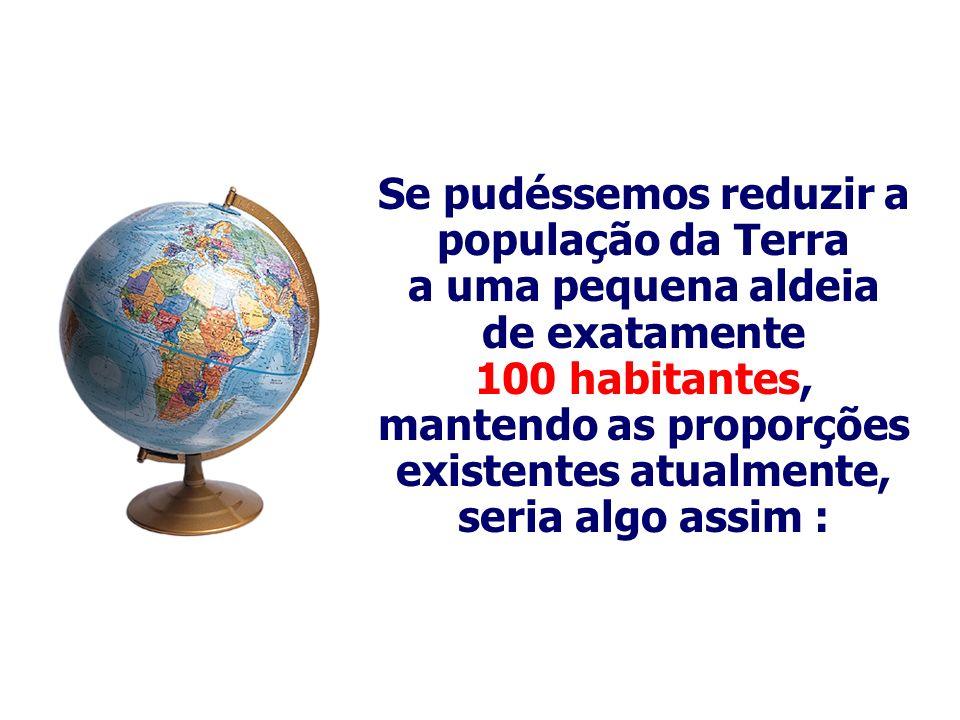 Se pudéssemos reduzir a população da Terra a uma pequena aldeia de exatamente 100 habitantes, mantendo as proporções existentes atualmente, seria algo
