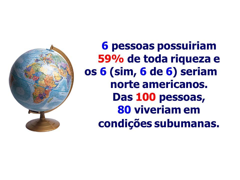 6 pessoas possuiriam 59% de toda riqueza e os 6 (sim, 6 de 6) seriam norte americanos. Das 100 pessoas, 80 viveriam em condições subumanas.