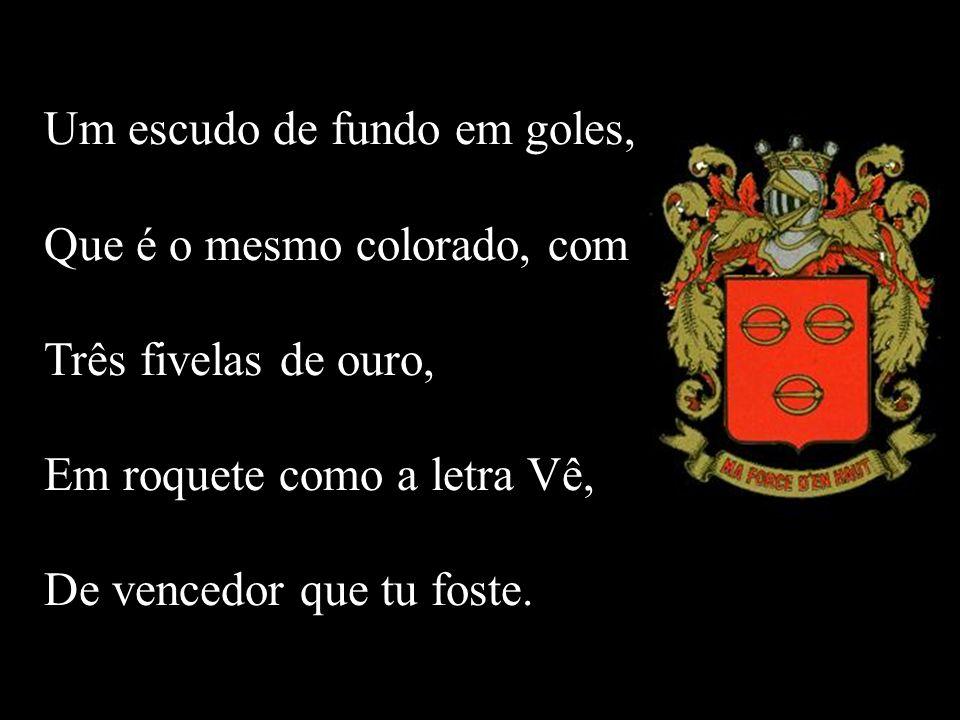 Um escudo de fundo em goles, Que é o mesmo colorado, com Três fivelas de ouro, Em roquete como a letra Vê, De vencedor que tu foste.