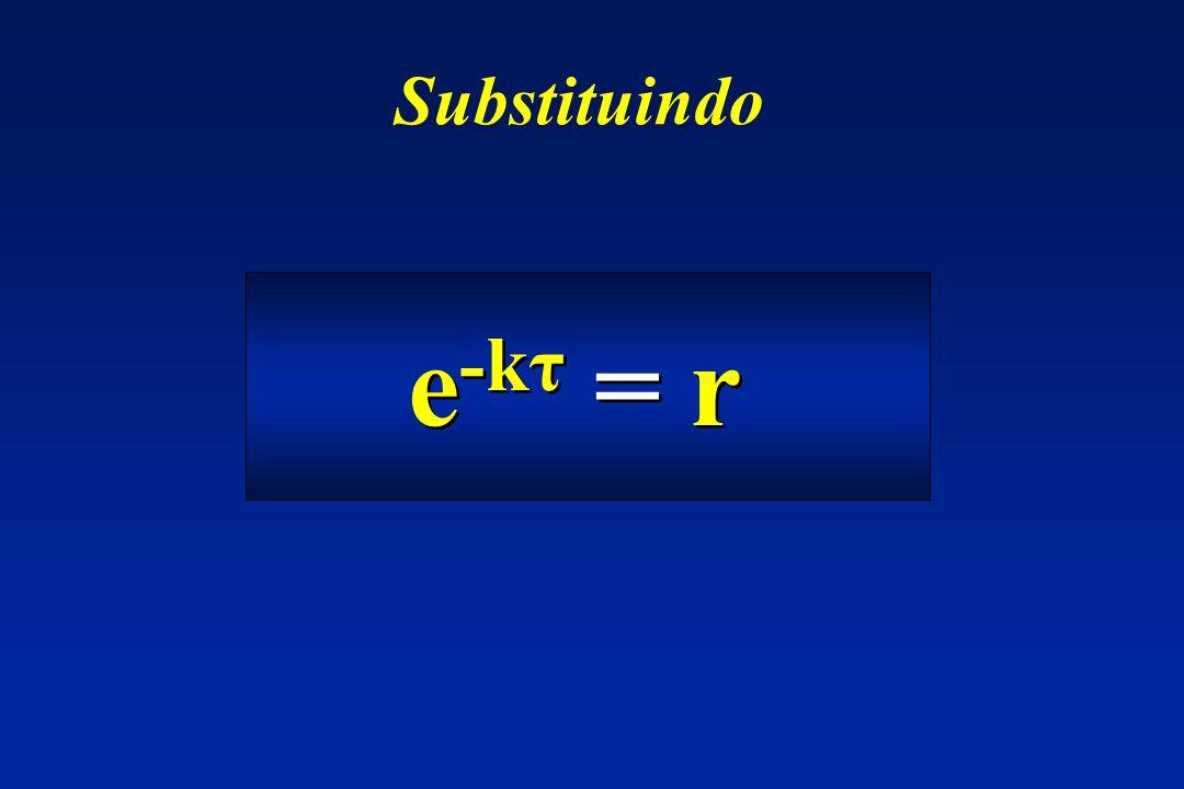 e -kτ = r Substituindo