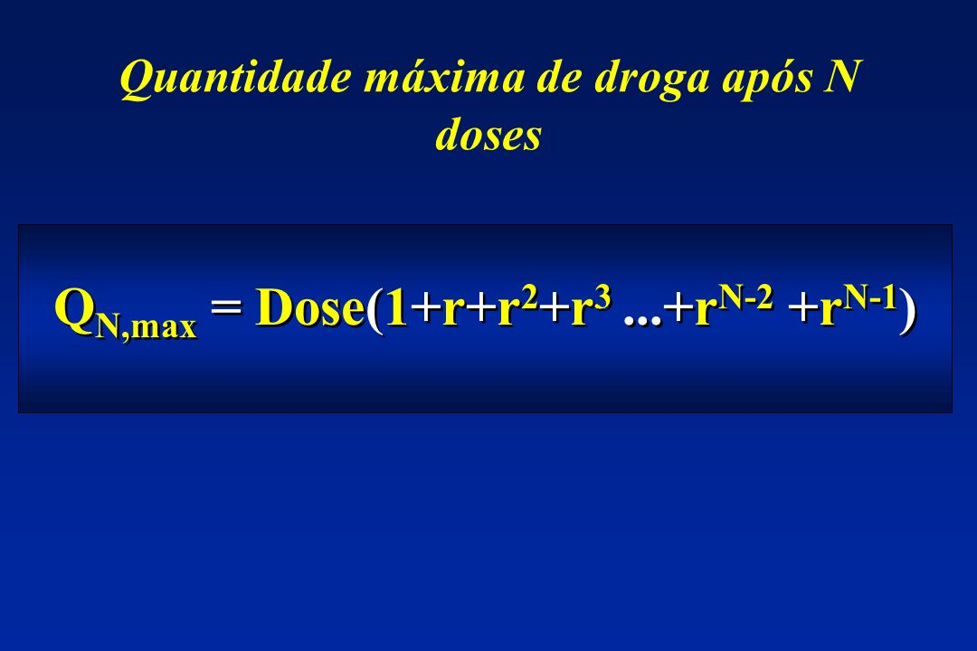 Q N,max = Dose(1+r+r 2 +r 3...+r N-2 +r N-1 ) Quantidade máxima de droga após N doses
