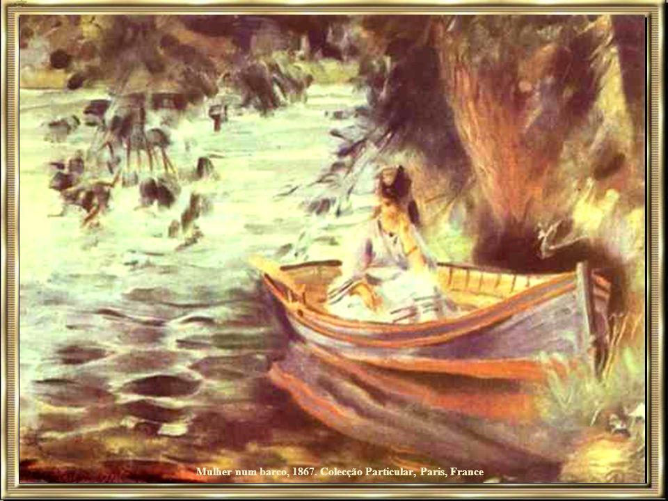 Jovem caminhando com cachorros na floresta de Fontainebleau, 1866, Museu de Arte de São Paulo, São Paulo, Brasil Em 1880, Renoir partiu o braço direit
