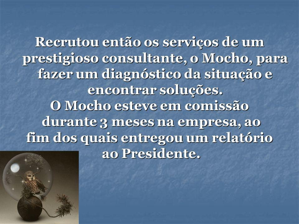 Recrutou então os serviços de um prestigioso consultante, o Mocho, para fazer um diagnóstico da situação e encontrar soluções. O Mocho esteve em comis