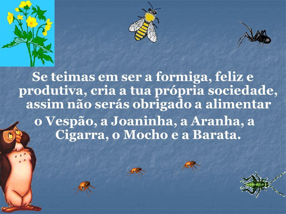 Se teimas em ser a formiga, feliz e produtiva, cria a tua própria sociedade, assim não serás obrigado a alimentar o Vespão, a Joaninha, a Aranha, a Ci