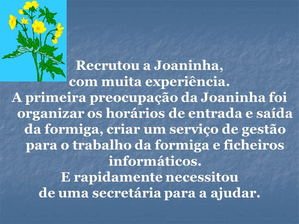 Recrutou a Joaninha, com muita experiência. A primeira preocupação da Joaninha foi organizar os horários de entrada e saída da formiga, criar um servi