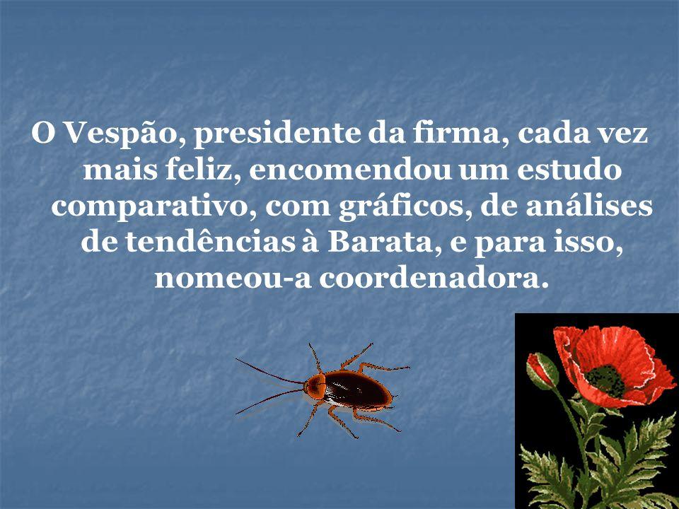 O Vespão, presidente da firma, cada vez mais feliz, encomendou um estudo comparativo, com gráficos, de análises de tendências à Barata, e para isso, n