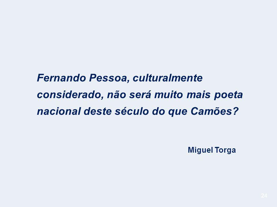 24 Fernando Pessoa, culturalmente considerado, não será muito mais poeta nacional deste século do que Camões.