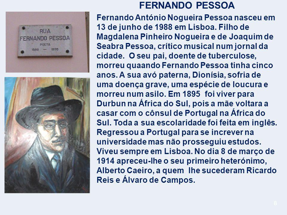 8 FERNANDO PESSOA Fernando António Nogueira Pessoa nasceu em 13 de junho de 1988 em Lisboa.