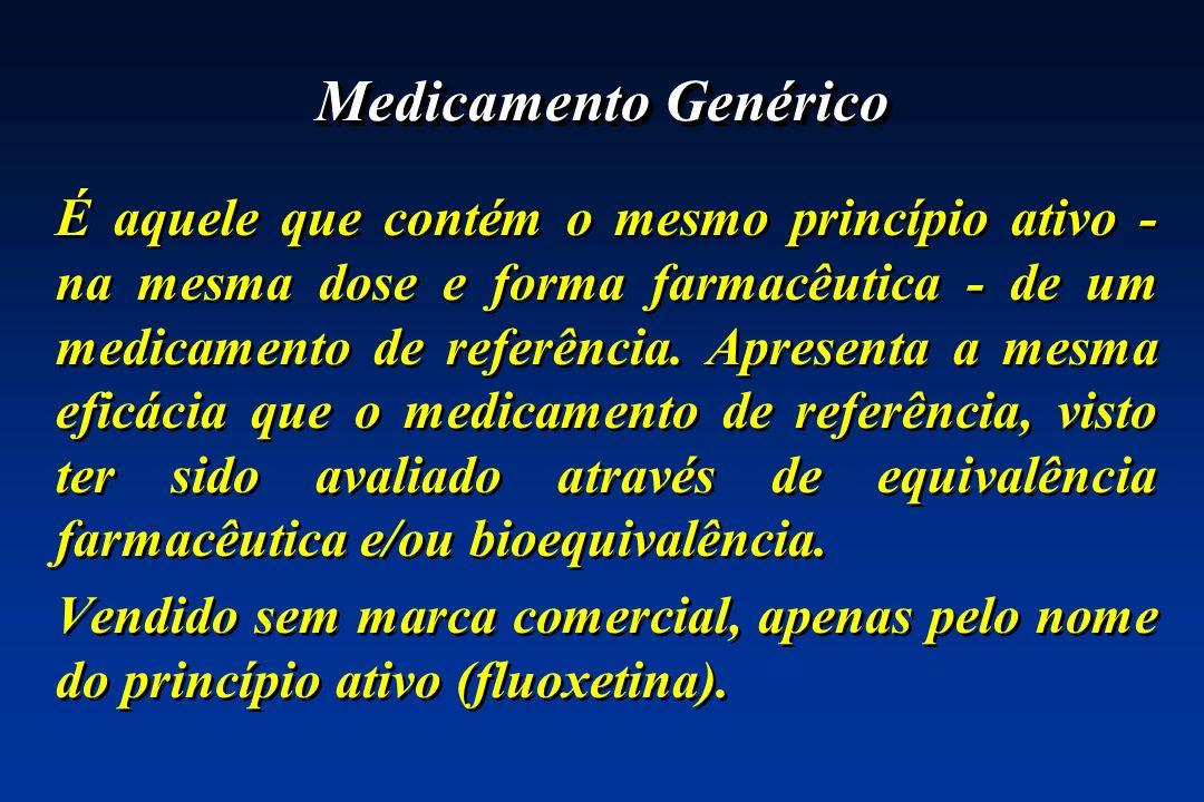 Medicamento Genérico É aquele que contém o mesmo princípio ativo - na mesma dose e forma farmacêutica - de um medicamento de referência. Apresenta a m