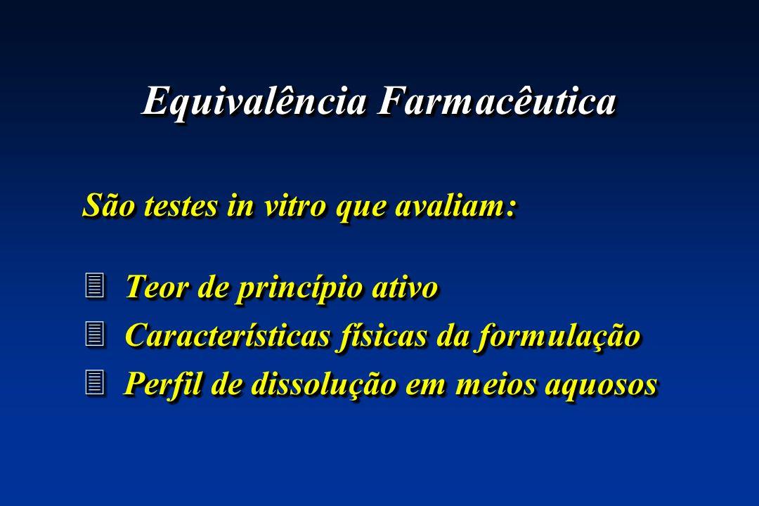 Equivalência Farmacêutica São testes in vitro que avaliam: 3 Teor de princípio ativo 3 Características físicas da formulação 3 Perfil de dissolução em