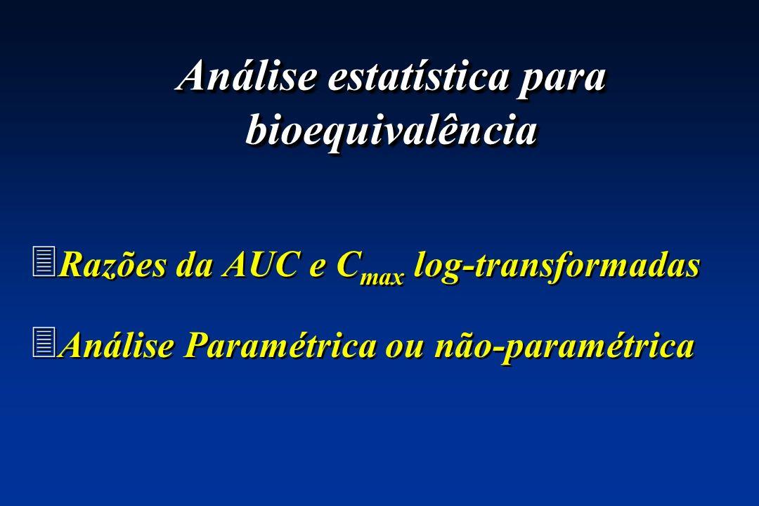 3 Razões da AUC e C max log-transformadas 3 Análise Paramétrica ou não-paramétrica 3 Razões da AUC e C max log-transformadas 3 Análise Paramétrica ou