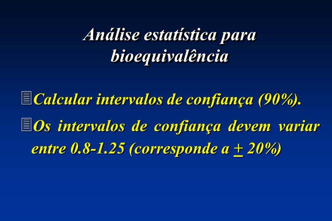 3 Calcular intervalos de confiança (90%). 3 Os intervalos de confiança devem variar entre 0.8-1.25 (corresponde a + 20%) 3 Calcular intervalos de conf