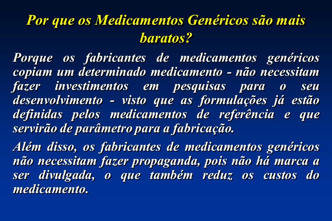 Por que os Medicamentos Genéricos são mais baratos? Porque os fabricantes de medicamentos genéricos copiam um determinado medicamento - não necessitam