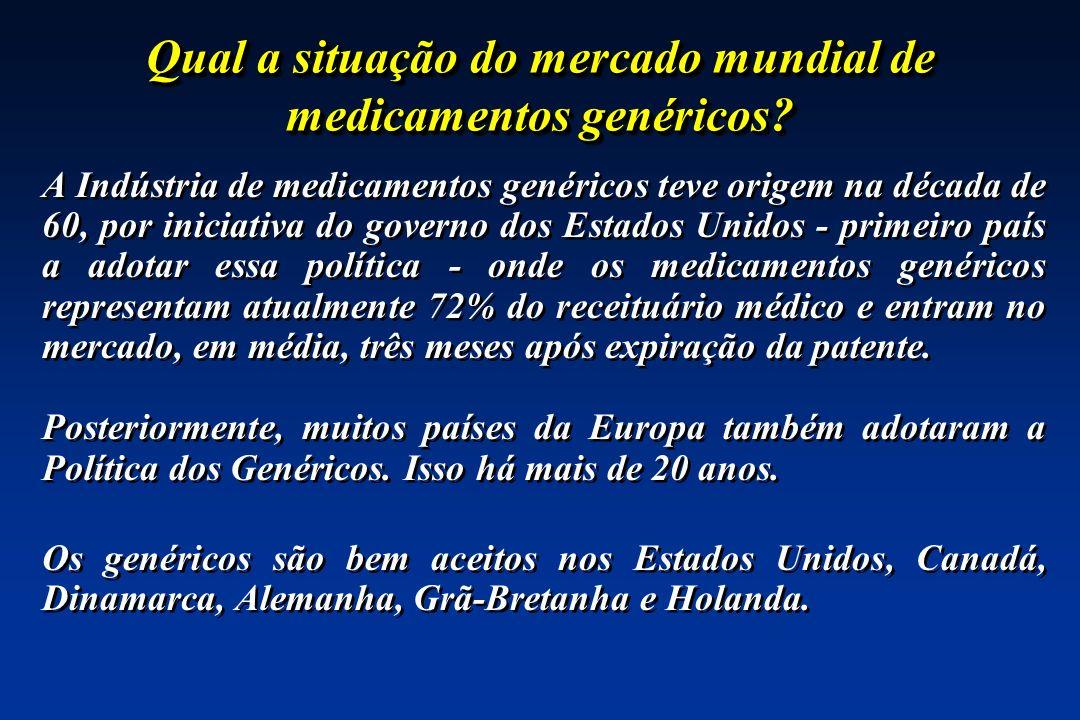 Qual a situação do mercado mundial de medicamentos genéricos? A Indústria de medicamentos genéricos teve origem na década de 60, por iniciativa do gov
