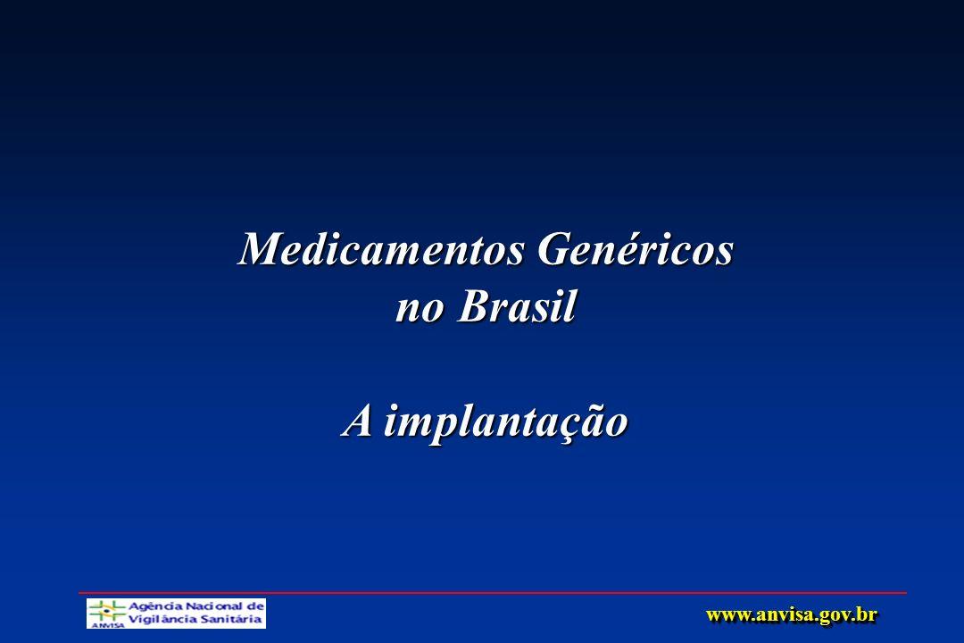 Medicamentos Genéricos no Brasil A implantação www.anvisa.gov.brwww.anvisa.gov.br