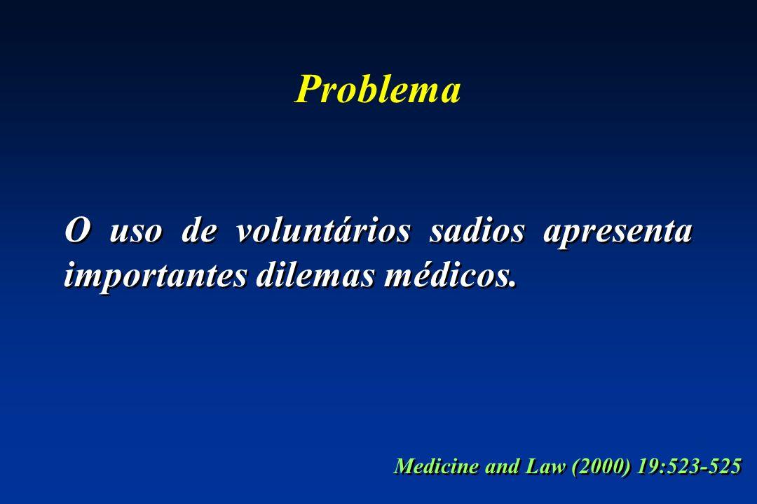 Problema O uso de voluntários sadios apresenta importantes dilemas médicos. Medicine and Law (2000) 19:523-525