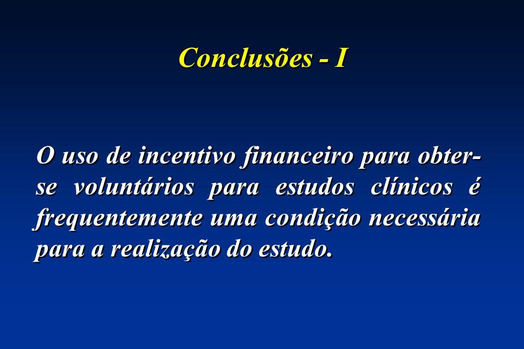 Conclusões - I O uso de incentivo financeiro para obter- se voluntários para estudos clínicos é frequentemente uma condição necessária para a realizaç