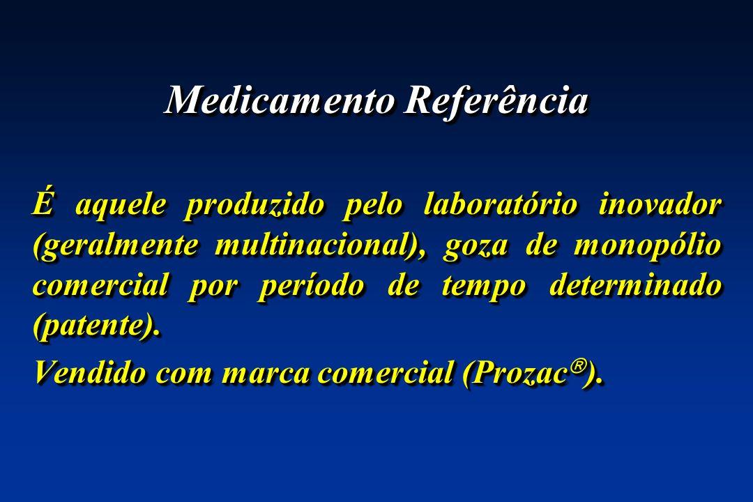 Medicamento Referência É aquele produzido pelo laboratório inovador (geralmente multinacional), goza de monopólio comercial por período de tempo deter