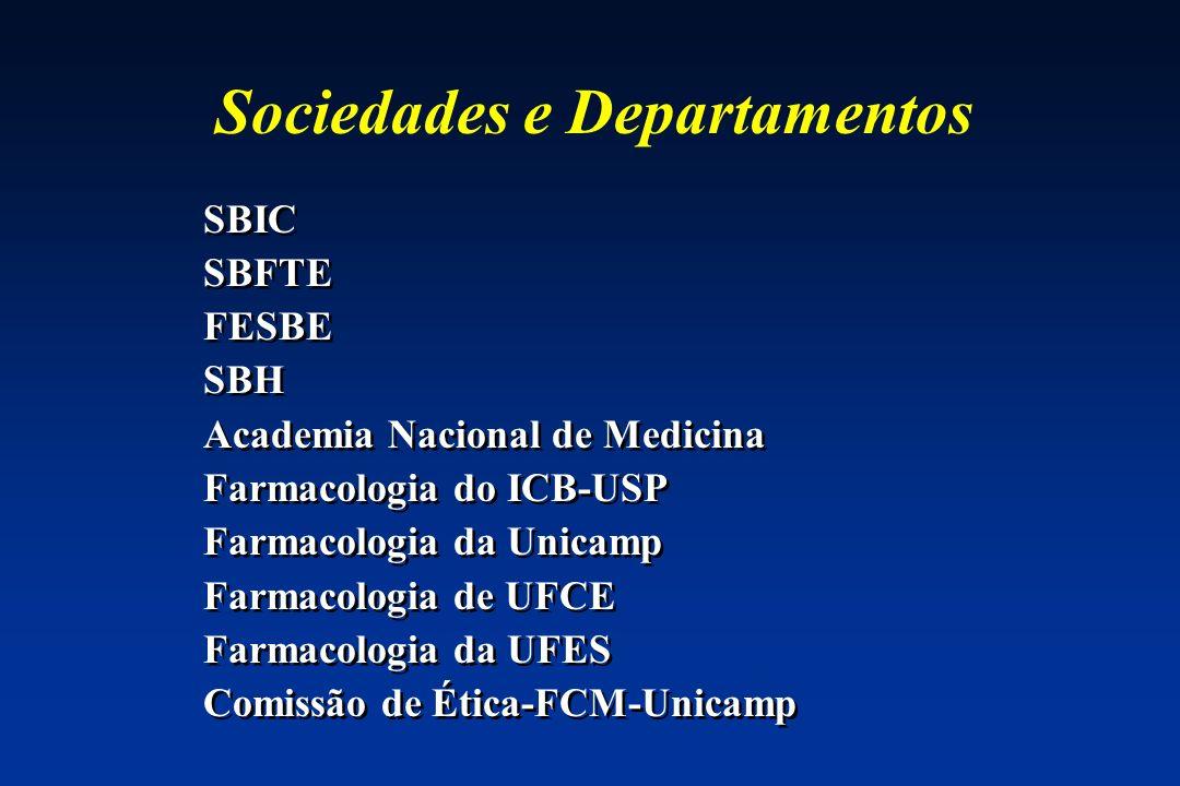 Sociedades e Departamentos SBIC SBFTE FESBE SBH Academia Nacional de Medicina Farmacologia do ICB-USP Farmacologia da Unicamp Farmacologia de UFCE Far