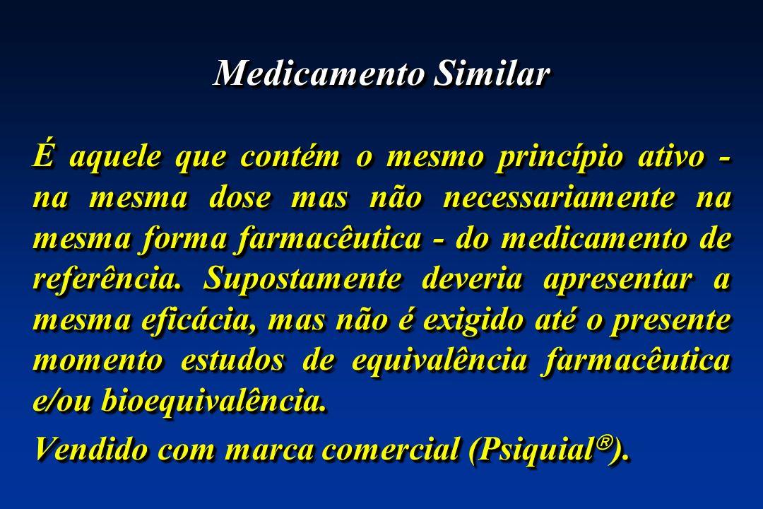 Medicamento Similar É aquele que contém o mesmo princípio ativo - na mesma dose mas não necessariamente na mesma forma farmacêutica - do medicamento d