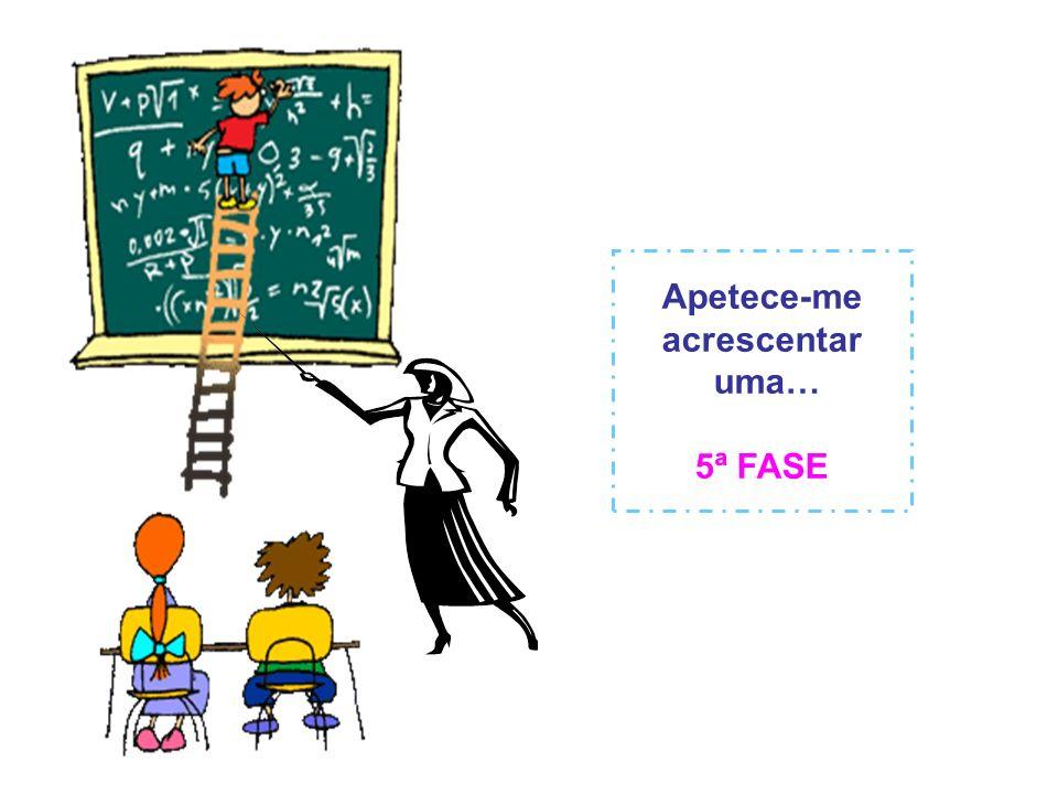 4ª FASE (em vigor a partir de 2007) O professor está proibido de chumbar o aluno; nesta fase quem é avaliado é o próprio professor, pelo aluno e respectiva família, correndo o risco quase certo de chumbar...
