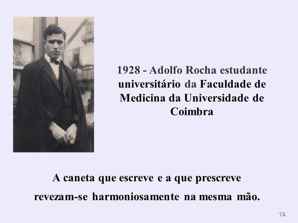 19. 1928 - Adolfo Rocha estudante universitário da Faculdade de Medicina da Universidade de Coimbra A caneta que escreve e a que prescreve revezam-se