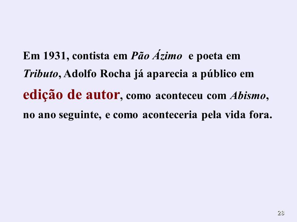 28 Em 1931, contista em Pão Ázimo e poeta em Tributo, Adolfo Rocha já aparecia a público em edição de autor, como aconteceu com Abismo, no ano seguint