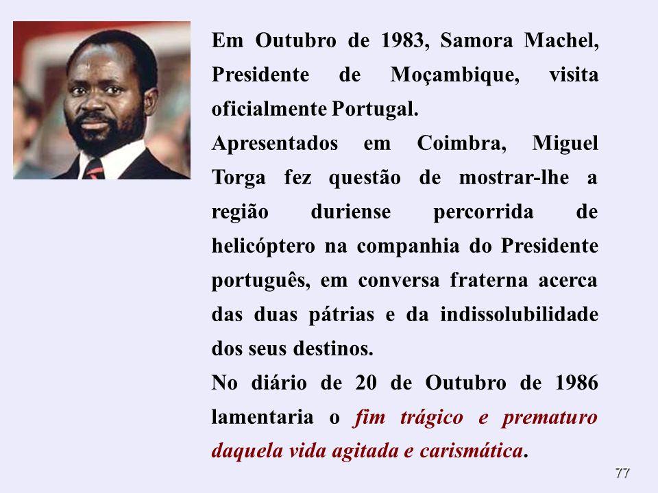 77 Em Outubro de 1983, Samora Machel, Presidente de Moçambique, visita oficialmente Portugal. Apresentados em Coimbra, Miguel Torga fez questão de mos