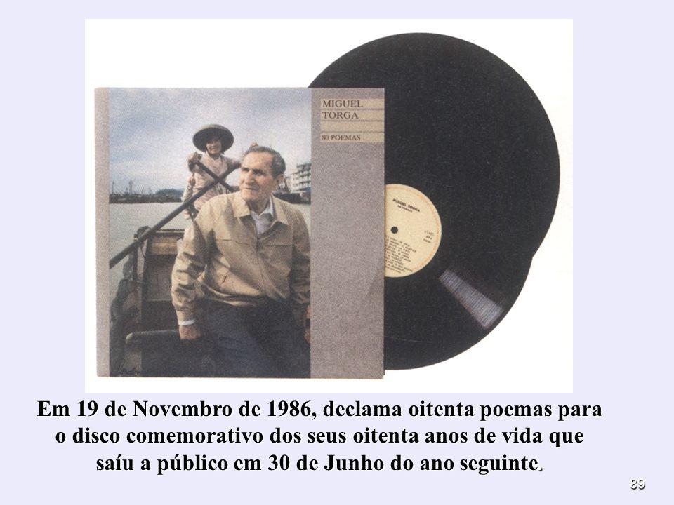 89 Em 19 de Novembro de 1986, declama oitenta poemas para o disco comemorativo dos seus oitenta anos de vida que saíu a público em 30 de Junho do ano