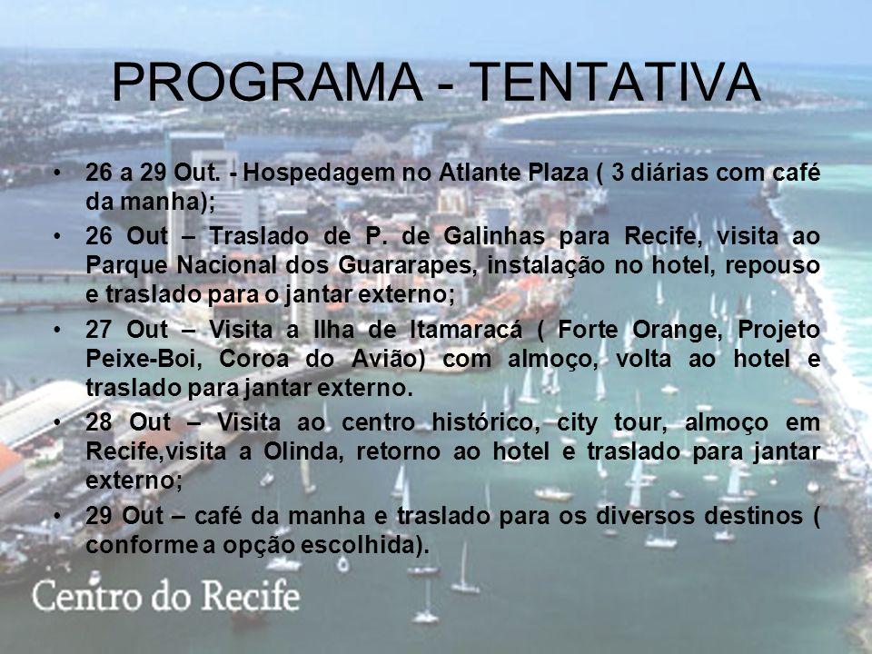 EXTENSÃO OPCIONAL CHARLIE RECIFE 26 A 29 OUTUBRO 2008