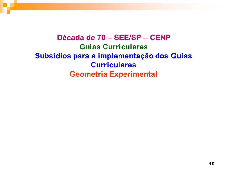 10 Década de 70 – SEE/SP – CENP Guias Curriculares Subsídios para a implementação dos Guias Curriculares Geometria Experimental