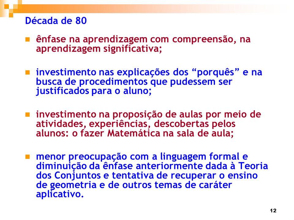 12 Década de 80 ênfase na aprendizagem com compreensão, na aprendizagem significativa; investimento nas explicações dos porquês e na busca de procedim