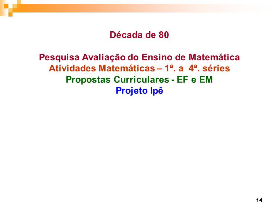14 Década de 80 Pesquisa Avaliação do Ensino de Matemática Atividades Matemáticas – 1ª. a 4ª. séries Propostas Curriculares - EF e EM Projeto Ipê