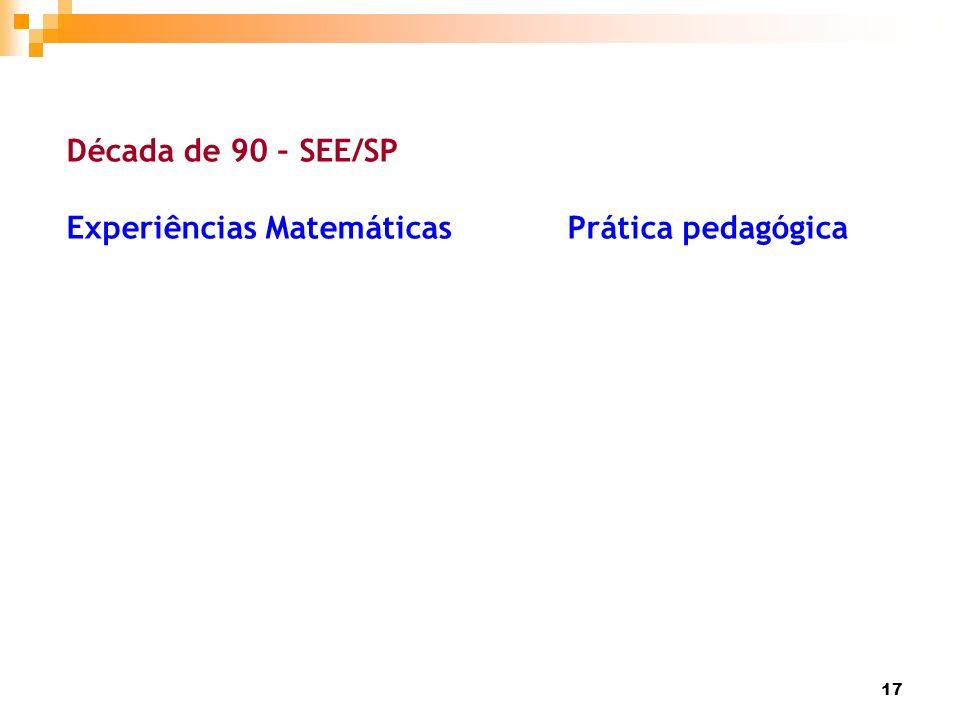 17 Década de 90 – SEE/SP Experiências Matemáticas Prática pedagógica