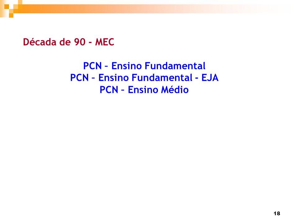 18 Década de 90 - MEC PCN – Ensino Fundamental PCN – Ensino Fundamental - EJA PCN – Ensino Médio