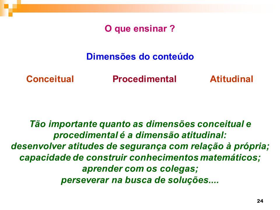 24 O que ensinar ? Dimensões do conteúdo Conceitual Procedimental Atitudinal Tão importante quanto as dimensões conceitual e procedimental é a dimensã
