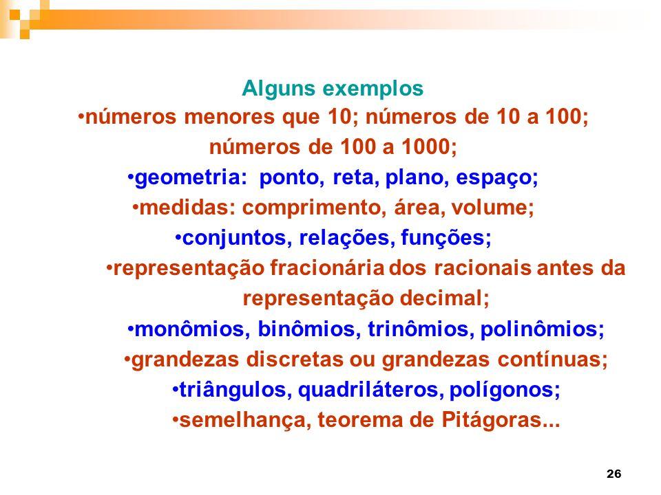 26 Alguns exemplos números menores que 10; números de 10 a 100; números de 100 a 1000; geometria: ponto, reta, plano, espaço; medidas: comprimento, ár