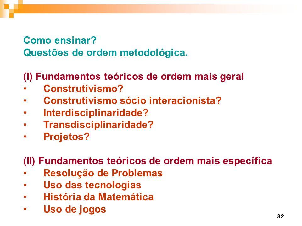 32 Como ensinar? Questões de ordem metodológica. (I) Fundamentos teóricos de ordem mais geral Construtivismo? Construtivismo sócio interacionista? Int