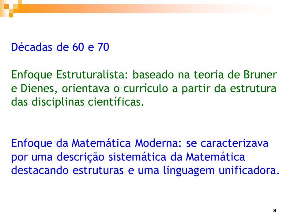 8 Décadas de 60 e 70 Enfoque Estruturalista: baseado na teoria de Bruner e Dienes, orientava o currículo a partir da estrutura das disciplinas científ