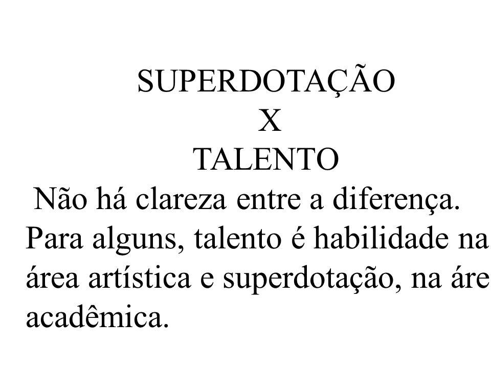 SUPERDOTAÇÃO X TALENTO Não há clareza entre a diferença.