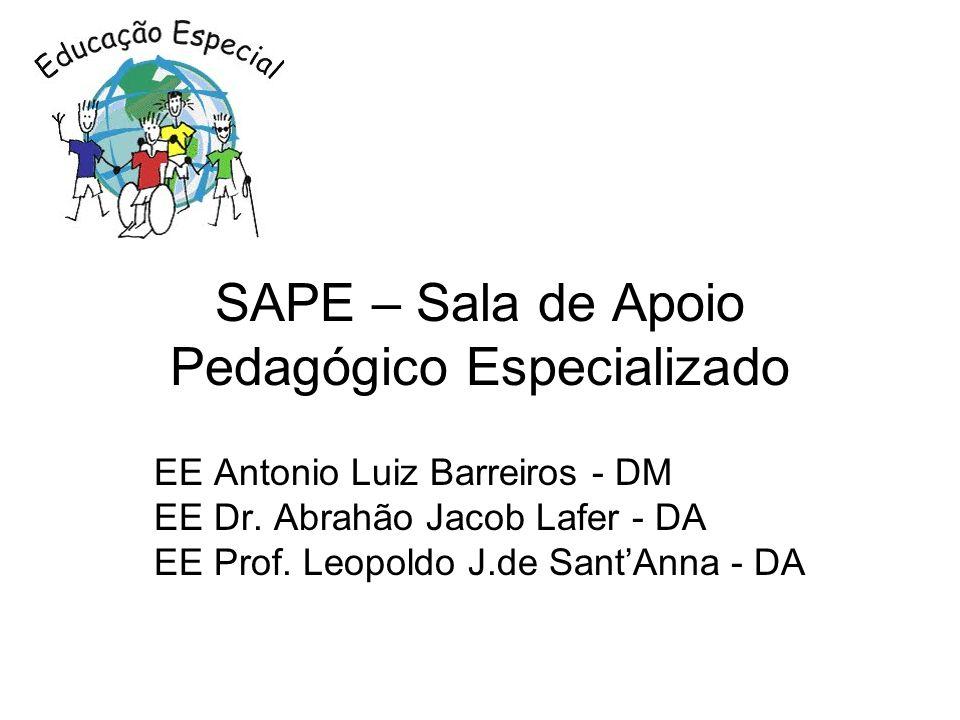 SAPE – Sala de Apoio Pedagógico Especializado EE Antonio Luiz Barreiros - DM EE Dr. Abrahão Jacob Lafer - DA EE Prof. Leopoldo J.de SantAnna - DA