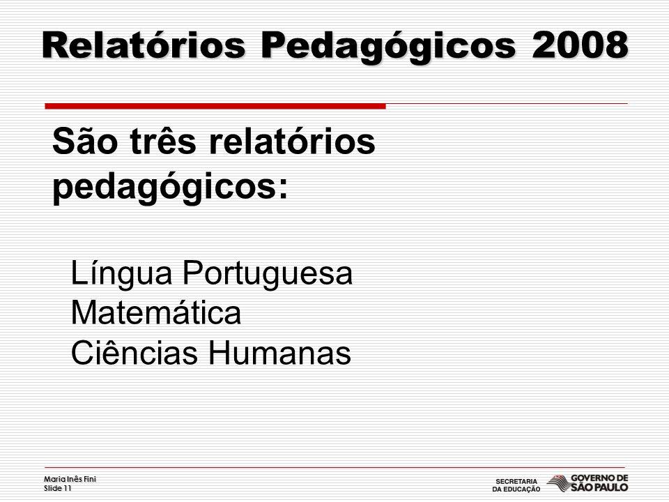 Maria Inês Fini Slide 11 Relatórios Pedagógicos 2008 São três relatórios pedagógicos: Língua Portuguesa Matemática Ciências Humanas