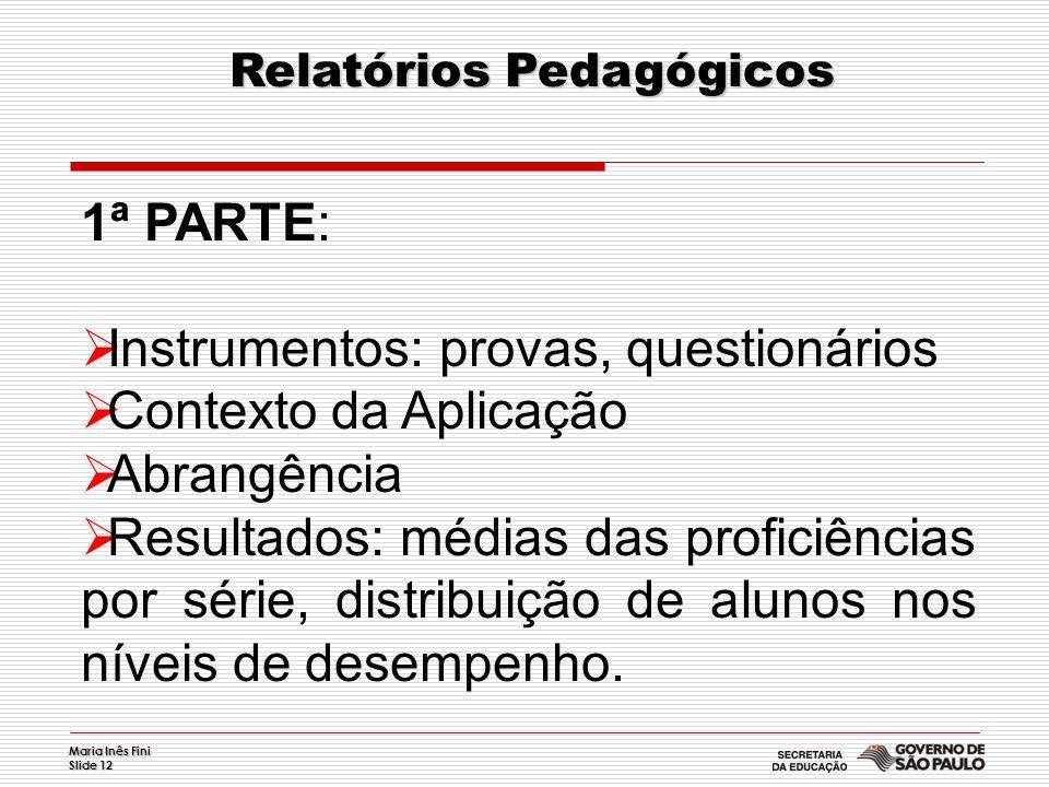 Maria Inês Fini Slide 12 Relatórios Pedagógicos Relatórios Pedagógicos 1ª PARTE: Instrumentos: provas, questionários Contexto da Aplicação Abrangência