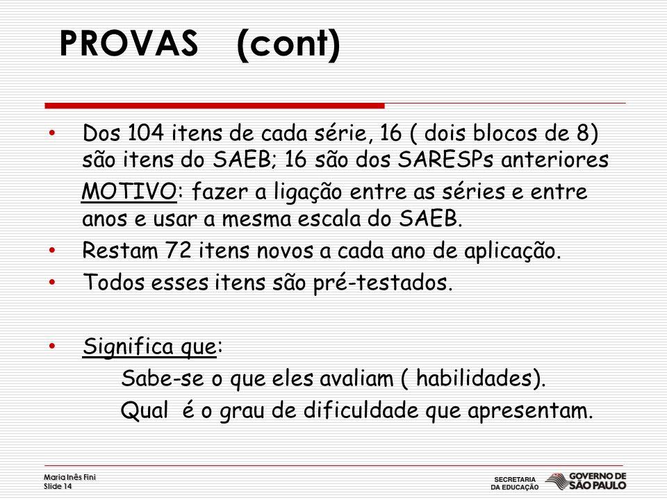 Maria Inês Fini Slide 14 PROVAS (cont) Dos 104 itens de cada série, 16 ( dois blocos de 8) são itens do SAEB; 16 são dos SARESPs anteriores MOTIVO: fa