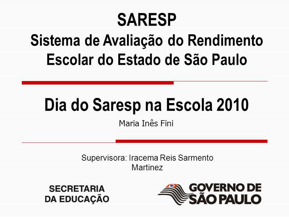 Maria Inês Fini Slide 2 SARESP Sistema de Avaliação do Rendimento Escolar do Estado de São Paulo Maria Inês Fini Dia do Saresp na Escola 2010 Supervis