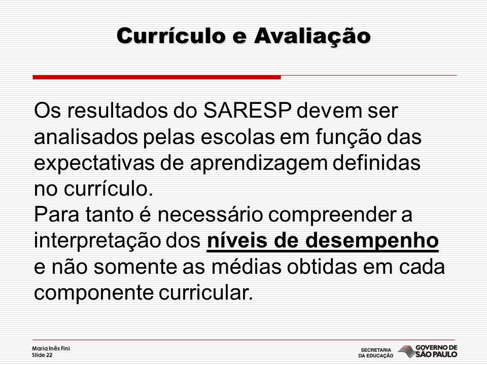 Maria Inês Fini Slide 22 Currículo e Avaliação Os resultados do SARESP devem ser analisados pelas escolas em função das expectativas de aprendizagem d