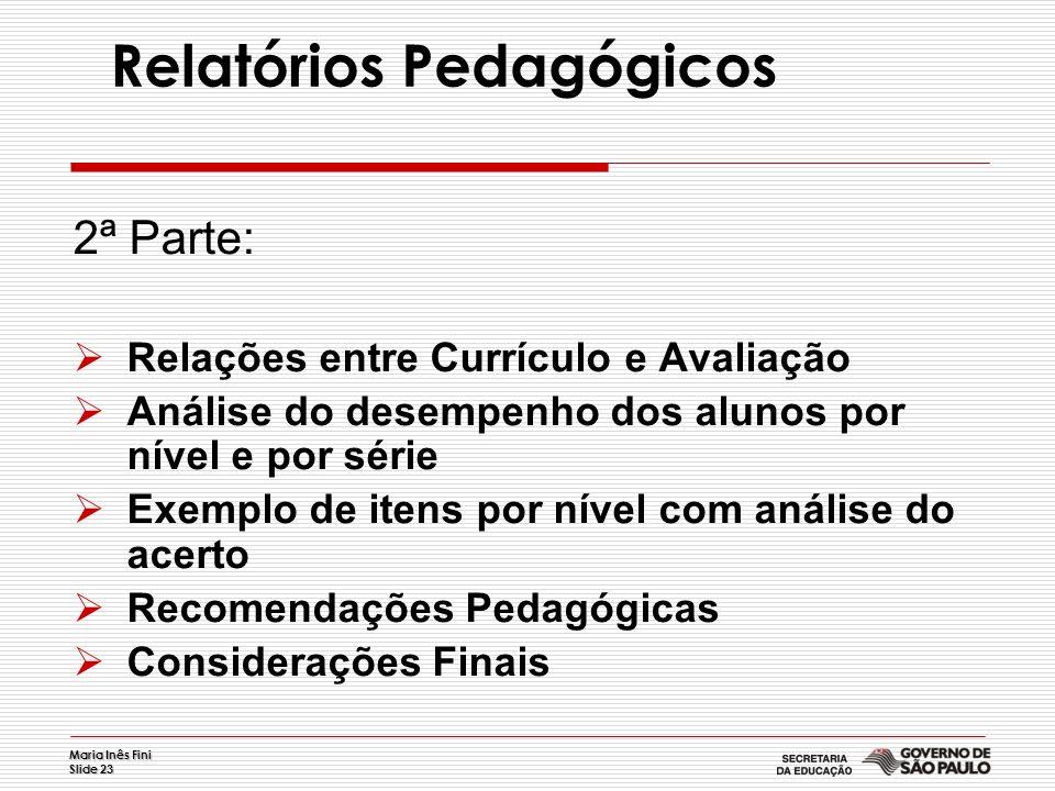 Maria Inês Fini Slide 23 Relatórios Pedagógicos 2ª Parte: Relações entre Currículo e Avaliação Análise do desempenho dos alunos por nível e por série