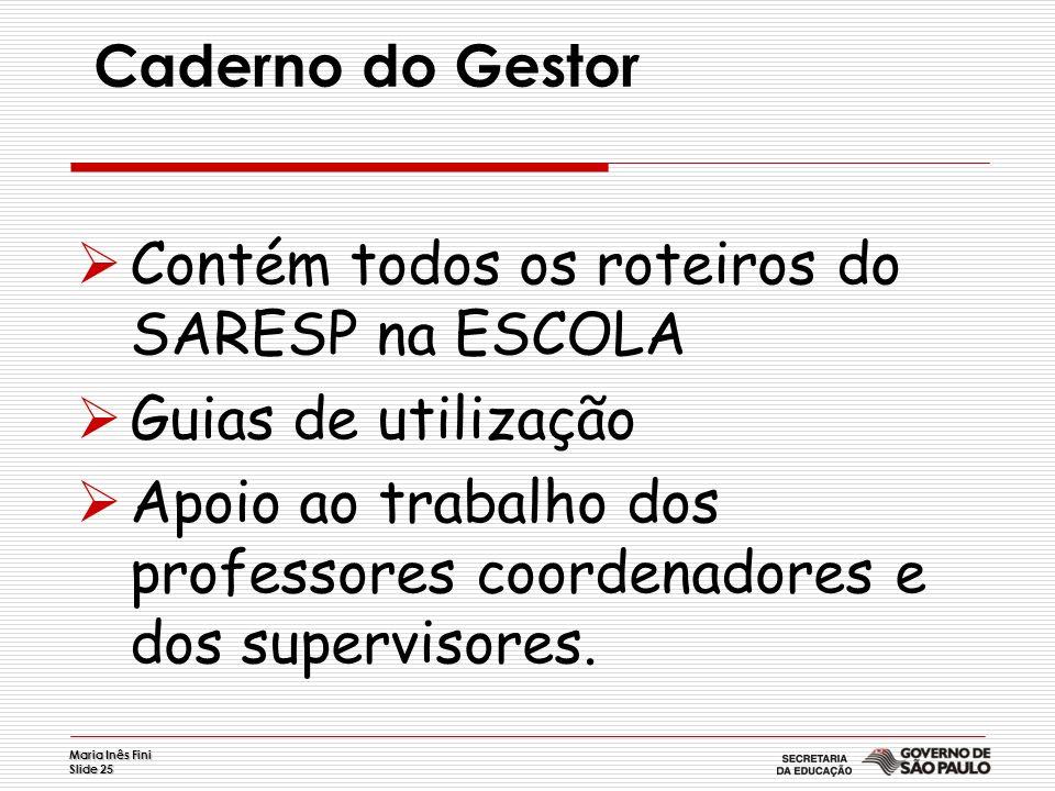 Maria Inês Fini Slide 25 Caderno do Gestor Contém todos os roteiros do SARESP na ESCOLA Guias de utilização Apoio ao trabalho dos professores coordena
