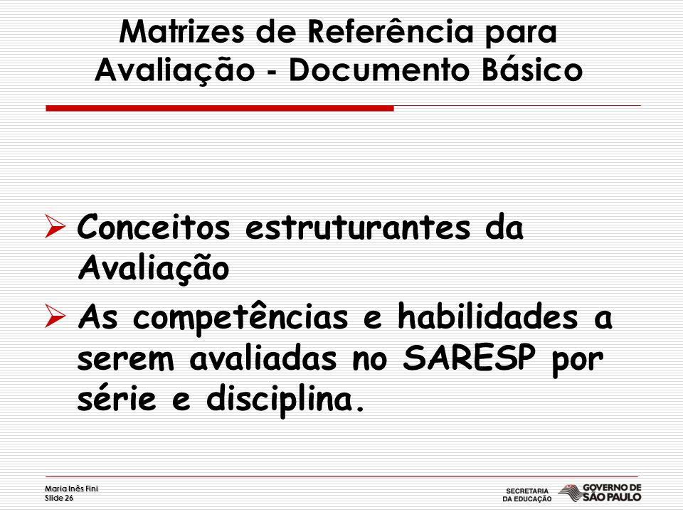 Maria Inês Fini Slide 26 Matrizes de Referência para Avaliação - Documento Básico Conceitos estruturantes da Avaliação As competências e habilidades a