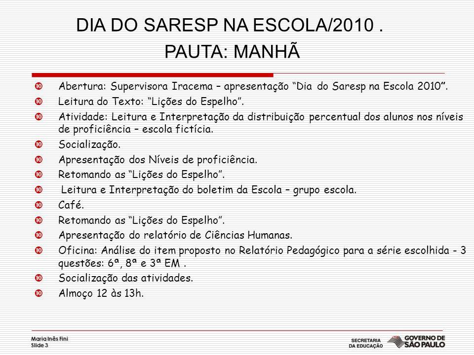 Maria Inês Fini Slide 3 Abertura: Supervisora Iracema – apresentação Dia do Saresp na Escola 2010. Leitura do Texto: Lições do Espelho. Atividade: Lei
